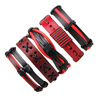 Men's Women's Wrap Bracelet Leather Bracelet - Leather Bohemian Bracelet Red For Gift Going out