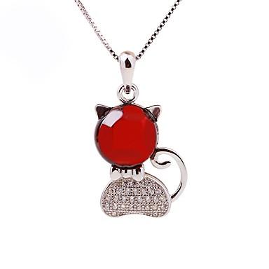 Női Szintetikus rubin Rövid nyakláncok, Nyaklánc medálok - Ezüst, Strassz Cat Ezüst
