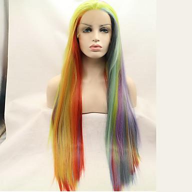 Szintetikus csipke front parókák Göndör egyenes Fekete Női Csipke eleje Természetes paróka Hosszú Szintetikus haj