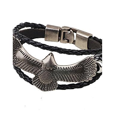 Men's / Women's Leather Bracelet - Gold Plated Eagle Fashion, Hip-Hop Bracelet Black / Coffee For Casual / Club