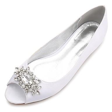Női Szatén Tavasz / Nyár Kényelmes / Balerinacipő Esküvői cipők Lapos Köröm Strasszkő / Glitter / Virág Kék / Világosbarna / Kristály / Party és Estélyi