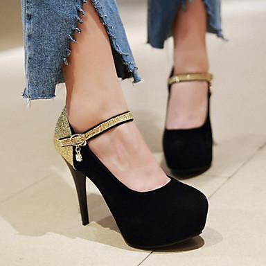 Femme Confort Chaussures Nubuck rond Nouveauté Chaussures Cuir Aiguille Talons à Automne Brillante 06242355 Talon Printemps Paillette Bout 01qrwd0