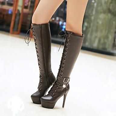 povoljno Ženske čizme-Žene Čizme Stiletto potpetica / Platformske cipele Okrugli Toe Umjetni biser / Kopča / Vezanje PU Čizme do koljena Remen oko gležnja / Modne čizme Jesen / Zima Crn / Bež / Tamno smeđa / EU36