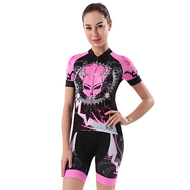 cheji® Women's Short Sleeve Cycling Jersey with Shorts - Pink Bike Clothing Suit, 3D Pad, Quick Dry Painting