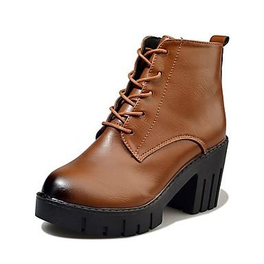 Női Cipő PU Ősz Kényelmes Csizmák blokk Heel Erősített lábujj Magas szárú csizmák Fűző mert Ruha Fekete Sötétbarna