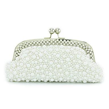 Női Táskák PU Vállon átvetős táska Gyöngydíszítés mert Esküvő / Party Fehér / Fekete / Tejesfehér