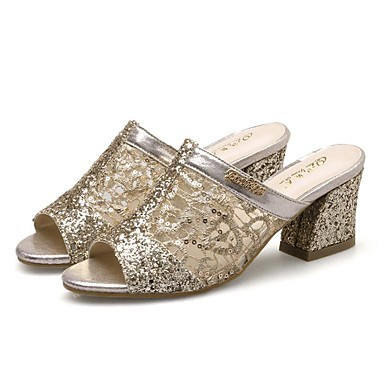 Women's Shoes PU(Polyurethane) Spring / Summer Novelty Sandals Chunky Heel Round Toe / Peep Toe Sequin / Hollow-out Gold / Silver