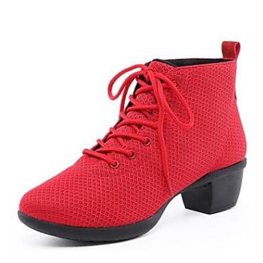Női Tánccipők Lélegző háló Sportcipő Szabadtéri Kubai sarok Dance Shoes Fekete / Piros