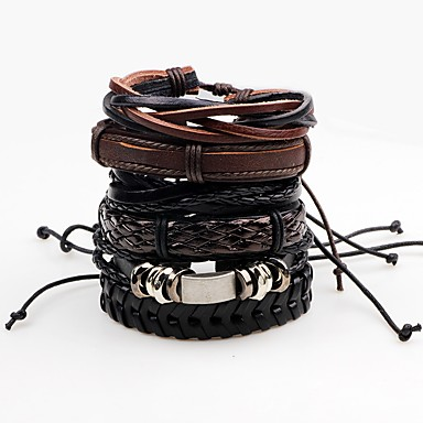 Men's Wrap Bracelet Leather Bracelet - Leather Rock Bracelet Black For Stage Club
