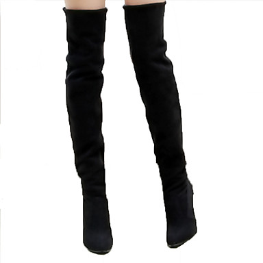 Women's Shoes Suede Spring / Summer Comfort / Novelty / Fashion Boots Boots Stiletto Heel Pointed Toe Knee High Boots Black / Gray / Brown