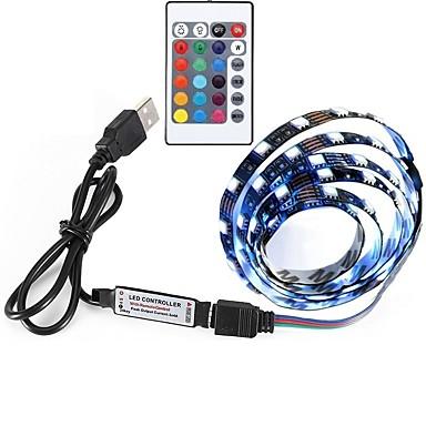 billige LED Strip Lamper-0.5m RGB-lysstriper 30 LED 5050 SMD RGB Fjernkontroll / Kuttbar / Selvklebende 5 V 1set / Fargeskiftende