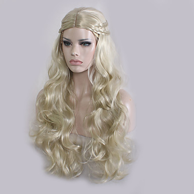 Synthetic Wig Women's Wavy Blonde Synthetic Hair Middle Part / Plait Hair Blonde Wig Long Capless Blonde