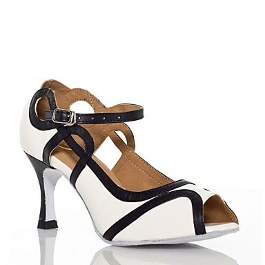 Women's Latin Shoes Silk Sandal Buckle Cuban White Heel Customizable Dance Shoes White Cuban / Purple / Performance / Leather 9dd0e1
