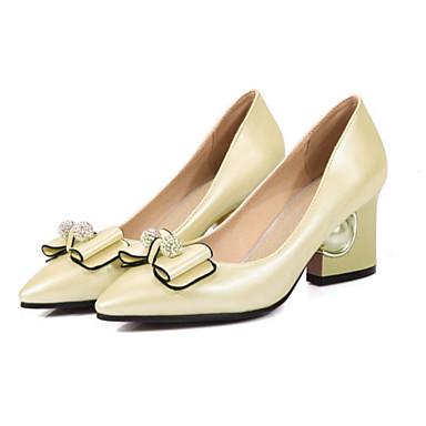 ราคาถูก รองเท้าส้นสูงผู้หญิง-สำหรับผู้หญิง PU ฤดูใบไม้ผลิ / ตก ความสะดวกสบาย / ความแปลก รองเท้าส้นสูง ส้นหนา Pointed Toe ปมผ้า / ไข่มุก สีเงิน / แดง / สีชมพู / งานแต่งงาน / พรรคและเย็น / 2-3 / พรรคและเย็น
