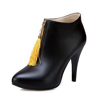 06236988 Demi Noir Talon Hiver Jaune Fermeture pointu Similicuir Botillons Bottine Bottes Chaussures Gland Aiguille Bout Femme Botte Xwva6qxW