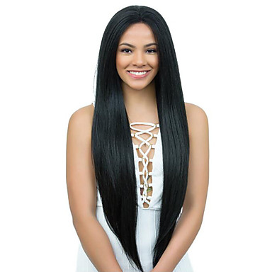 Virgin Human Hair Glueless Full Lace / Glueless Lace Front / Full Lace Wig Brazilian Hair Yaki Straight Wig 130% / 150% / 180% With Baby Hair / Natural Hairline / 100% Virgin Women's Long Human Hair