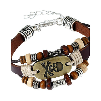 Men's Women's Geometric Leather Bracelet - Leather Skull Fashion Bracelet Rainbow For Party Daily