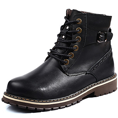 Men's Snow Boots Leather Fall / Winter Boots Booties / Ankle Boots Black / Brown