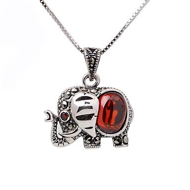 Női Szintetikus rubin Nyaklánc medálok / Nyakláncok - Ezüst Elefánt, Állat Divat Ezüst Nyakláncok Kompatibilitás Ajándék, Napi