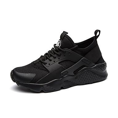 Men's Light Soles Tulle / Pigskin Fall / Winter Comfort Sneakers White / Black / Black / White
