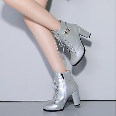 Bout Talon Noir 06259354 Chaussures Similicuir Argent Fermeture Bottine Femme Bottes Demi Hiver Botte à rond Bottier Bottes la Lacet Mode 8vpqxTHw