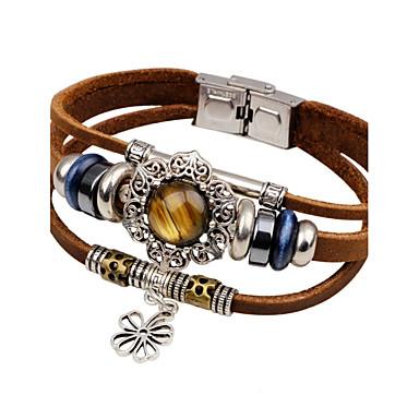 voordelige Herensieraden-Heren Turkoois Lederen armbanden Zon Bloem Vintage Modieus Leder Armband sieraden Zwart / Bruin Voor Causaal Uitgaan