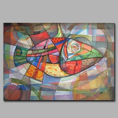Hang festett olajfestmény Kézzel festett - Állatok Modern / kortárs Vászon