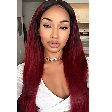 Human Hair Lace Front Wig Brazilian Hair Straight Wig Layered Haircut 130% Natural Hairline / For Black Women / 100% Virgin Women's Short / Medium Length / Long Human Hair Lace Wig