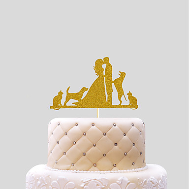 Cake Topper Wedding Hearts Paper Wedding with 1 PVC Bag