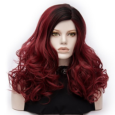 Synthetic Wig / Cosplay & Costume Wigs Deep Wave Synthetic Hair Ombre Hair Red Wig Women's Medium Length Capless