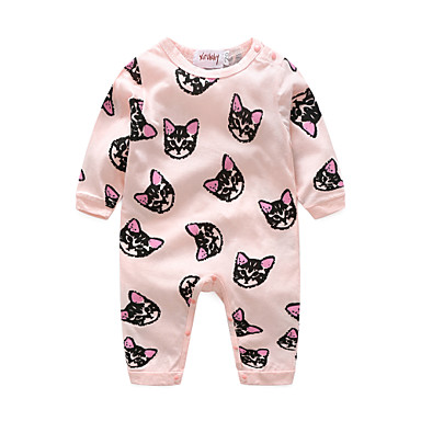 Baby Girls' Cartoon Animal Long Sleeve Cotton Overall & Jumpsuit Pink