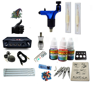 Tattoo Machine Starter Kit - 1 pcs Tattoo Machines with 1 x 5 ml tattoo inks, High Speed, Professional LCD power supply Case Not Included 1 rotary machine liner & shader