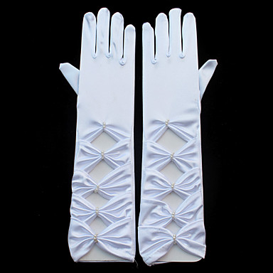 Stretch Satin Elbow Length Glove Bridal Gloves / Party / Evening Gloves With Pearl / Ruffles