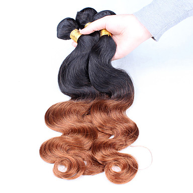 Mongol haj Hullámos haj Ombre Emberi haj sző Fekete / Medium Auburn Human Hair Extensions
