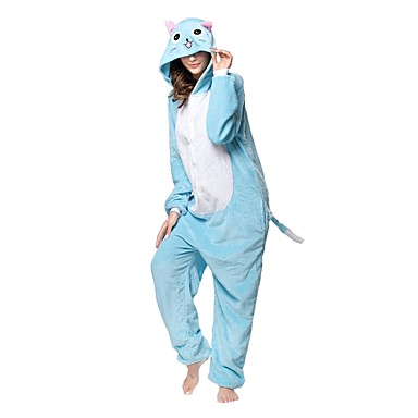 Adults' Kigurumi Pajamas Cat Onesie Pajamas Flannel Toison Blue Cosplay For Men and Women Animal Sleepwear Cartoon Festival / Holiday Costumes