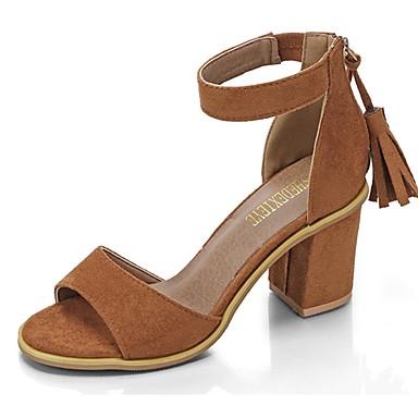 Mujer Zapatos PU Verano Confort / Pump Básico Sandalias Tacón Cuadrado Negro / Beige / Morrón Oscuro Le Plus Grand Fournisseur Pas Cher pL7VZB