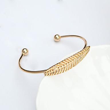 Női Leaf Shape Bilincs karkötők - Divat minimalista stílusú Arany Ezüst Karkötők Kompatibilitás Napi Hétköznapi