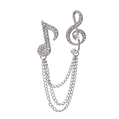 baratos Bijuteria de Mulher-Mulheres Broches Música Nota Musical senhoras Rock Fashion Strass Broche Jóias Prata Para Casual Palco