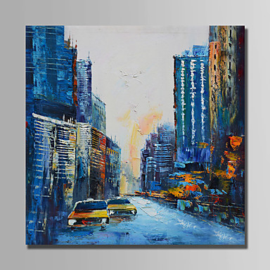 Oil Painting Hand Painted - Abstract Modern Canvas / Rolled Canvas