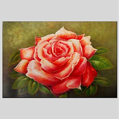 Oil Painting Hand Painted - Floral / Botanical Classic Canvas / Stretched Canvas