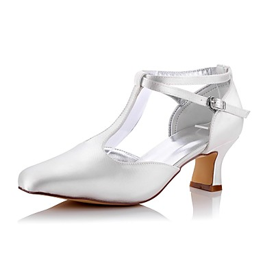 Women's Shoes Silk Spring / Fall Comfort Wedding Shoes Chunky Heel Square Toe Ivory / Party & Evening