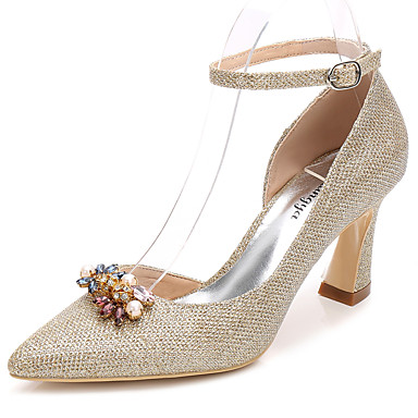 86b70f664e3 Women s Glitter Spring   Fall Basic Pump   Ankle Strap Wedding Shoes Chunky  Heel Pointed Toe Rhinestone   Crystal Gold   Silver   Party   Evening   EU39