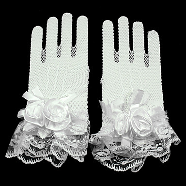 Lace / Net Wrist Length Glove Mesh / Bridal Gloves / Party / Evening Gloves With Floral / Ruffles
