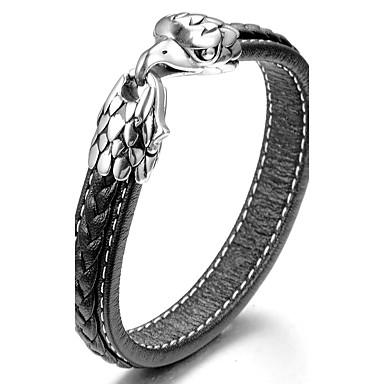 Men's Cuff Bracelet Bracelet - Leather, Titanium Steel Animal Personalized, Fashion Bracelet Black For Daily Going out