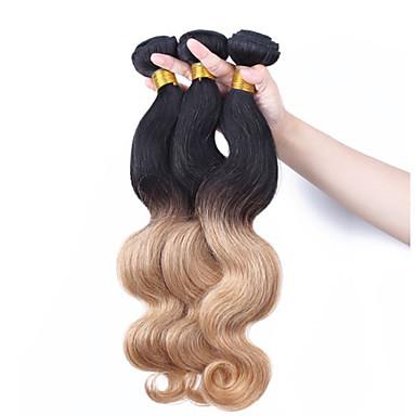 Maláj haj Hullámos haj Ombre Emberi haj sző Fekete / Strawberry Blonde Human Hair Extensions