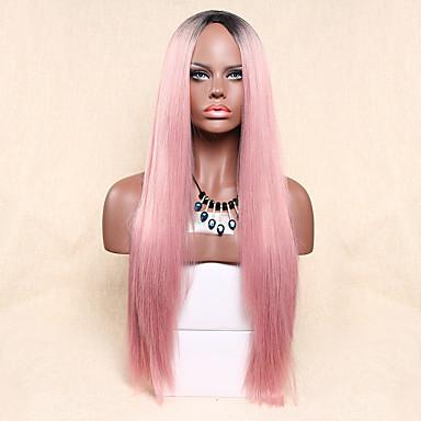 Недорогие Парик из искусственных волос без шапочки-Парики из искусственных волос Прямой Розовый Искусственные волосы Розовый Парик Жен. Длинные Без шапочки-основы