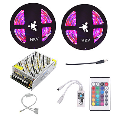 10m Light Sets 600 LEDs 3528 SMD RGB Cuttable / Dimmable / Waterproof 100-240 V 1pc / IP65 / Linkable / Self-adhesive / Color-Changing