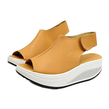 رخيصةأون صنادل نسائية-للمرأة أحذية PU ربيع / صيف مريح صنادل منصة أمام الحذاء على شكل دائري ربطة و حلقة أسود / أصفر / أحمر