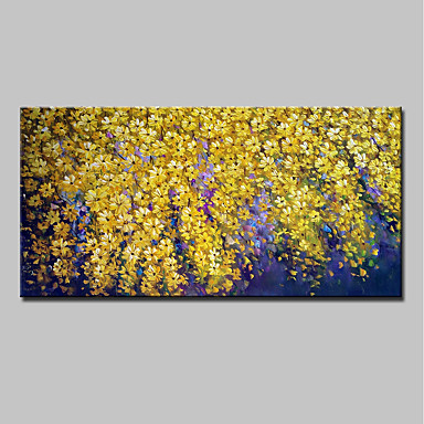 Oil Painting Hand Painted - Floral / Botanical Abstract Modern Canvas