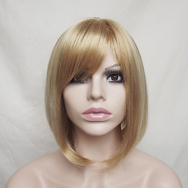 Synthetic Wig Straight Blonde Bob Haircut / With Bangs Synthetic Hair Highlighted / Balayage Hair / Natural Hairline Blonde Wig Women's Short Capless